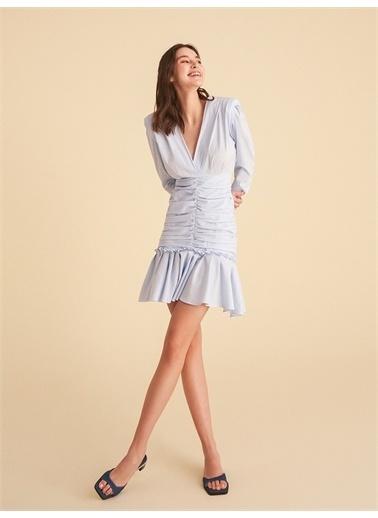 Nocturne V Yaka Büzgülü Mini Elbise Renkli